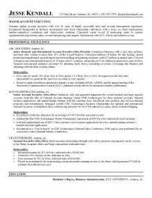 sales account manager resume templates exle account executive resume free sle