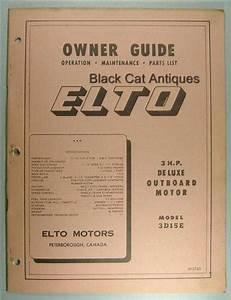 Original Elto Motors Outboard Motor Owners Guide 3 Hp