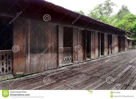 iban tribe longhouse  sarawak borneo stock photo