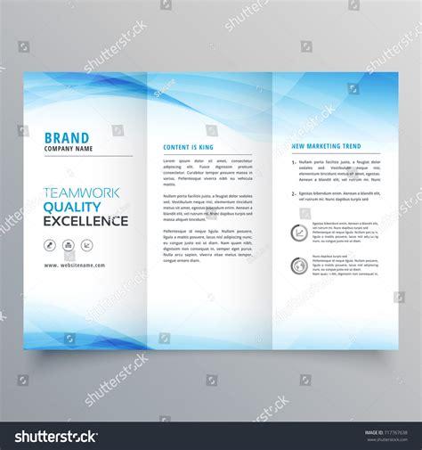 elegant blue business trifold brochure design stock vector
