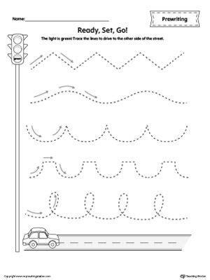 straight  tracing prewriting flower worksheet