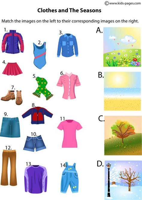 seasons  clothes worksheet
