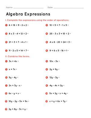 algebra expressions worksheet education com