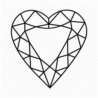 Diamond Heart Outline Shape Drawing Gem Star