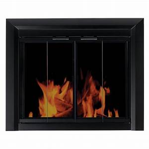 Pleasant, Hearth, Clairmont, Fireplace, Screen, And, Bi-fold, Track-free, Smoked, Glass, Doors