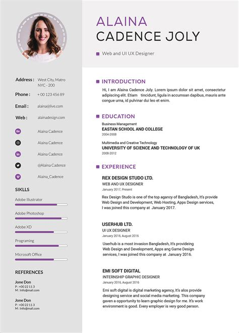 clean professional resume  cover letter psd