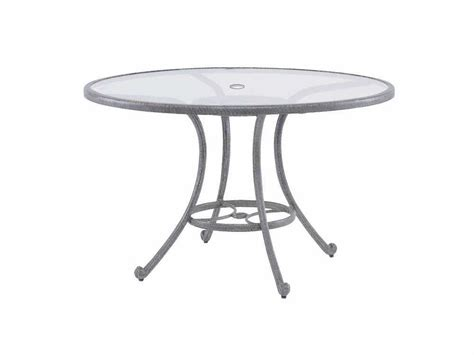 round glass patio table with umbrella hole landgrave cast aluminum 48 round glass dining table with