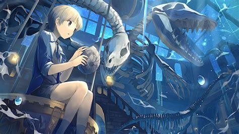 Download 1920x1080 Anime Boy Skeleton Sky Stars Skull