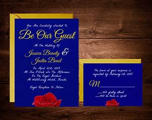 Beauty and the beast wedding invitations fairytale for Beauty and the beast wedding invitations wording
