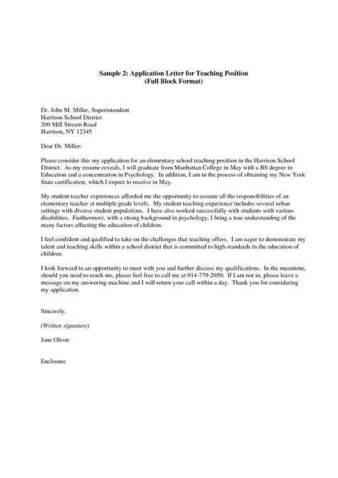 Cover Letter For Teachers Application by Application Letter Format How Write Sle For
