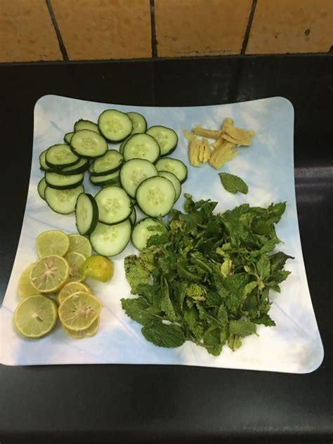 cucumber lemon mint ginger detox water recipe  nutrition chart yumzen