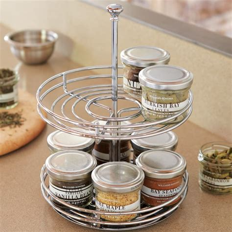 rotating spice rack two tier revolving spice rack williams sonoma