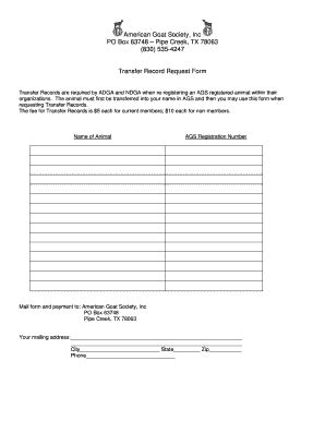american goat society forms fillable online transfer record request form american