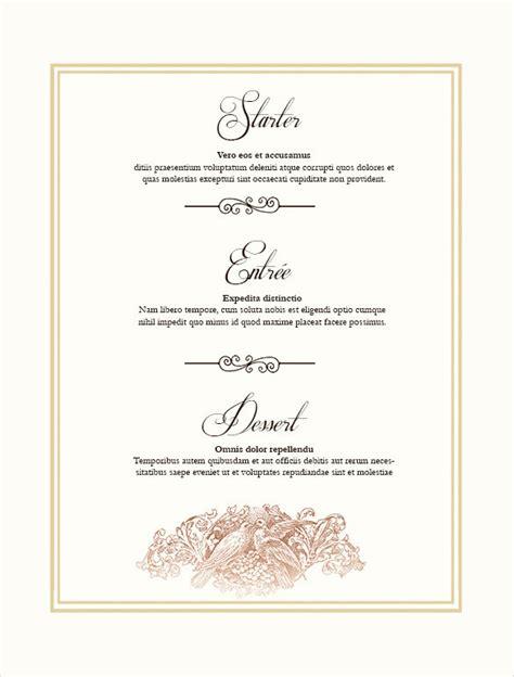 Free Printable Menu Templates by 36 Wedding Menu Templates Free Sle Exle Format