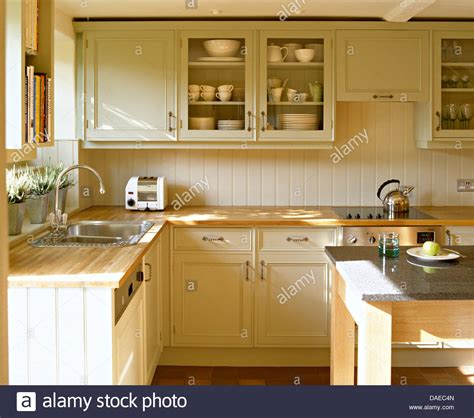 Kitchen Cupboard Tops by Beech Worktops On Painted Units And Wall Cupboard In