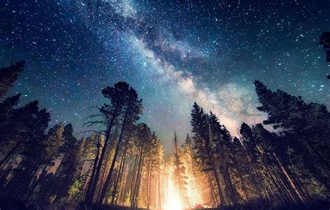 long exposure starry night milky  galaxy nature