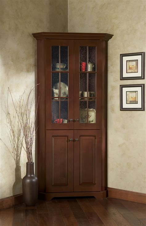 small wood storage cabinets corner with glass doors homesfeed