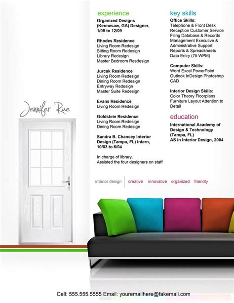resume interior design branding resume