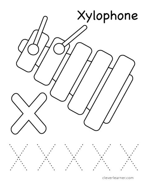 letter x writing and coloring sheet
