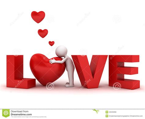 3d Man Hugging Red Heart In Word Love Stock Illustration