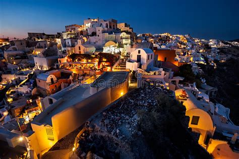Night View Of The Oia Resort Santorini Island Greece