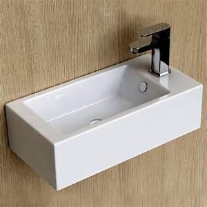 Lave Main Ceramique : lave main gain de place 50x25 cm en c ramique pure ~ Edinachiropracticcenter.com Idées de Décoration