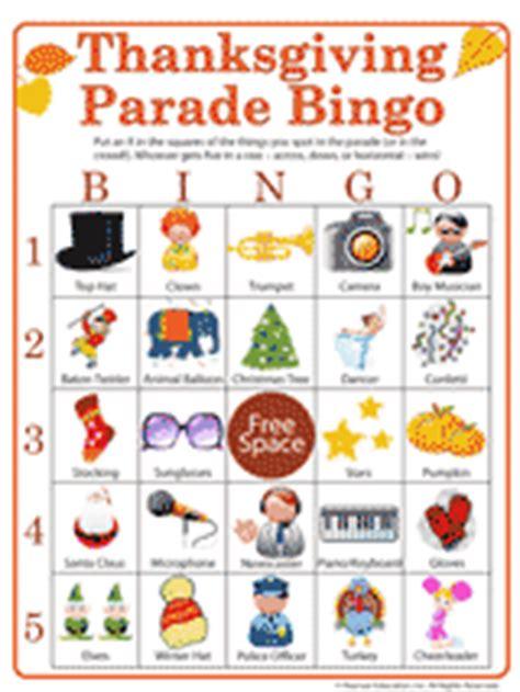 thanksgiving parade activity printable bingo game