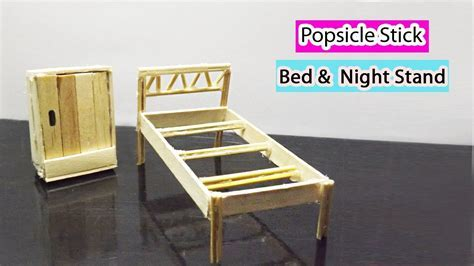 Popsicle Stick Crafts   How to Make Miniature Doll Bed and