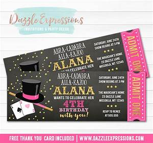Printable Girl Magic Show Chalkboard Ticket Birthday Invitation