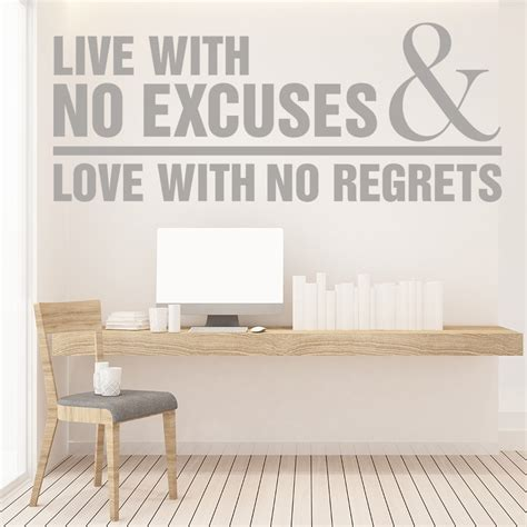 excuses love   regrets wall sticker