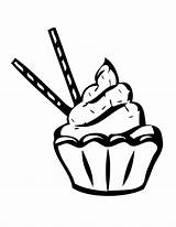 Coloring Pages Cupcakes Stick Chocolate Sprinkles Colouring Template Netart sketch template