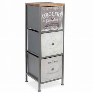 Petit Meuble à Tiroirs : petit meuble 3 tiroirs en m tal vintage store maisons du monde ~ Teatrodelosmanantiales.com Idées de Décoration