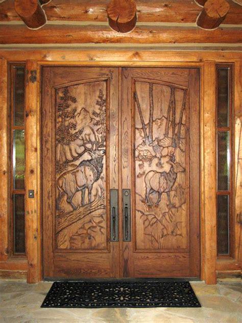 great   rustic double front door designs