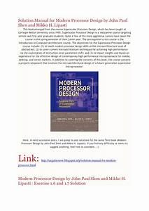 Solution Manual For Modern Processor Design By John Paul
