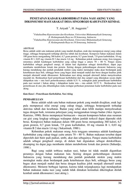 Jurnal tentang karbohidrat nasi - HMJ KIMIA UINAM