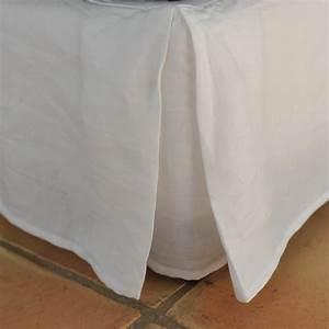 Cache Sommier Blanc : cache sommier lin lav blanc ~ Teatrodelosmanantiales.com Idées de Décoration