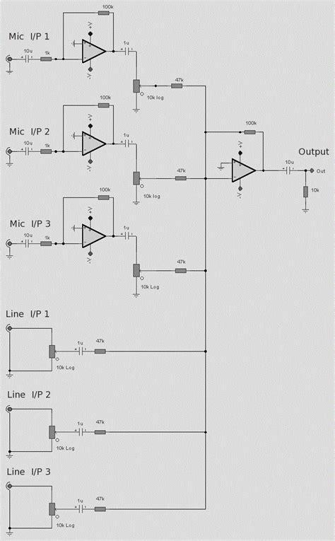 op 6 line audio mixer circuit koleksi skema rangkaian artikel elektronika