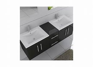 Meuble Salle De Bain 2 Vasques : meuble double vasque suspendu noir dis1500n distribain ~ Edinachiropracticcenter.com Idées de Décoration