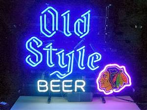 Wiki Neon Sign Blog NHL CHICAGO BLACKHAWKS OLD STYLE BEER