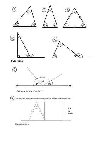 ks2 maths triangles worksheets ks2 missing angles in a triangle year 4 5 6 worksheet