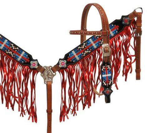 foto de Red White and Blue Navajo Headstall Set EC Western Gear