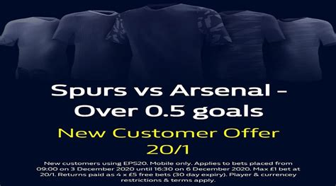 How To Get 20/1 Over 0.5 Goals During Spurs v Arsenal At ...