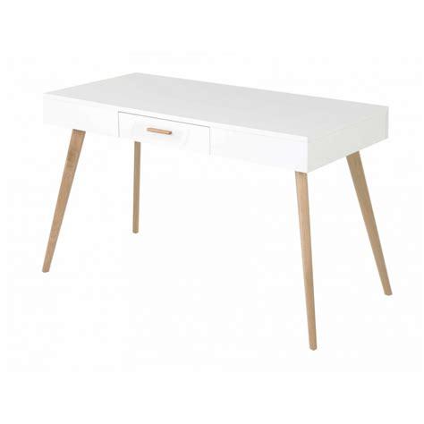 bureau blanc et bois bureau chêne et laqué blanc 1 tiroir scandie mooviin