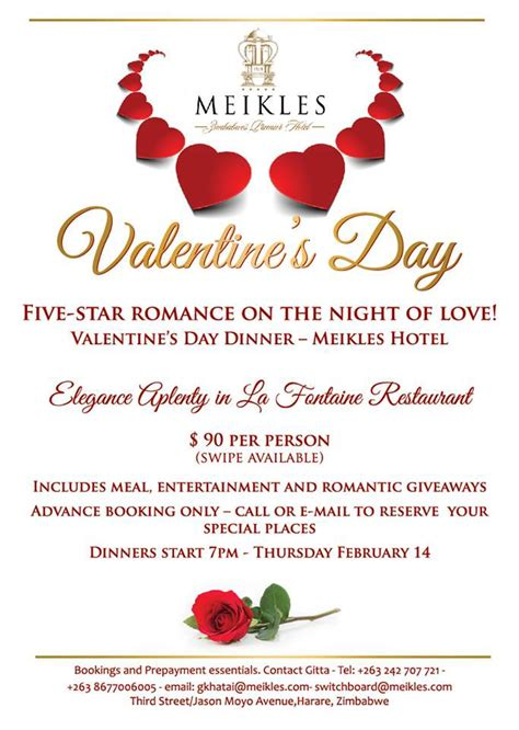 Valentine's Day Dinner At Meikles Hotel.   My Guide Zimbabwe