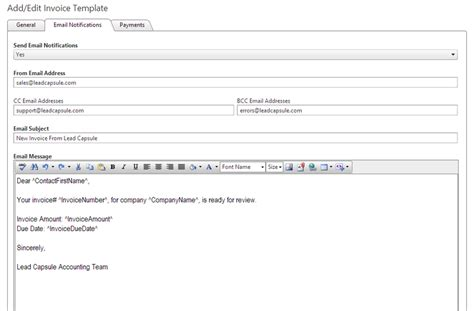 invoice email template invoicing features lead capsule
