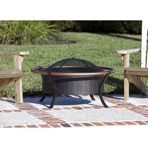 outdoor pit patio furniture fireplace copper wood