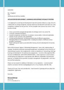 Covering Letter Cv For Learning Development Specialist