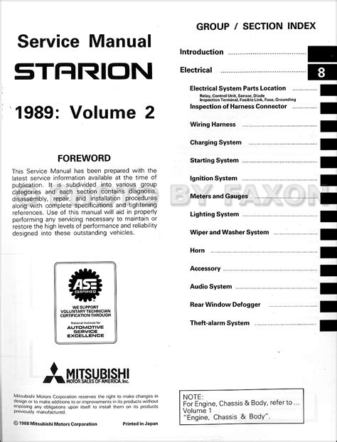 free car repair manuals 1989 mitsubishi starion electronic toll collection 1989 mitsubishi starion repair shop manual original 2 vol set