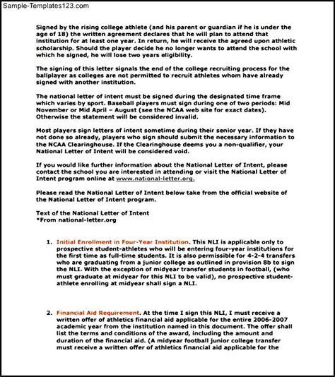 baseball national letter  intent template printable
