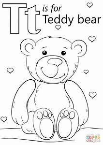Letter T is for Teddy Bear coloring page | Free Printable ...